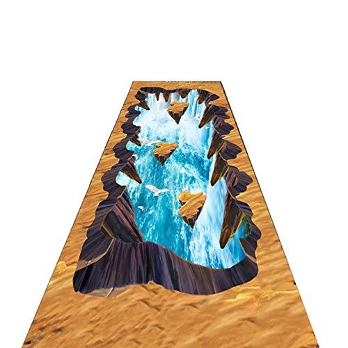 Flur Teppich Läufer 3D Spannende Flur Teppiche Läufer, Braun Innen Bodenmatte Fußmatte Im Freien mit Grusel Cliff Wasserfall Muster, Kinder Haustiere Spielen & Krabbeln Matten (Size : 120×300cm)