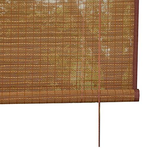JLXJ Estor Enrollable Persiana Filtrado de Luz Cortinas Enrollables de Bambú, 95cm/115cm/135cm/155cm de Ancho, para Pérgola Exterior Ventanas de Balcón Ciegas, Accesorios De Gancho