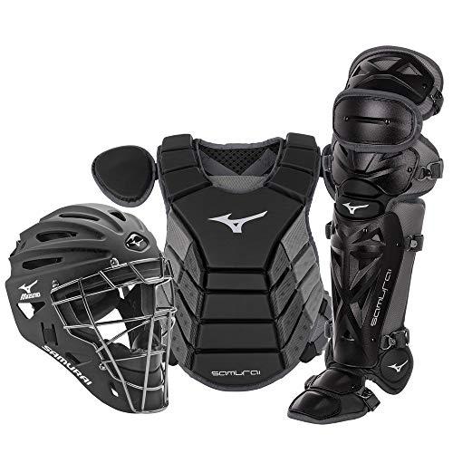 "Mizuno Samurai Youth Baseball Boxed Catcher's Gear Set, Black-Grey, 14"" Youth Boys"