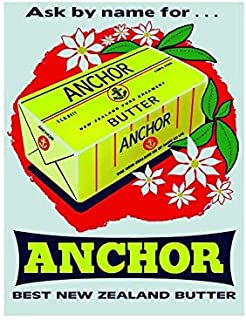 FemiaD Ask by Name Anchor Best New Zealand Butter Vintage Style Metal Advertising Wall Plaque Sign 8 X 12 in