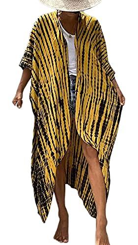 Orshoy Damen Morgenmantel Kimono Cardigan Bademantel Lange Robe Nachtwäsche Pyjama Strand Pareo Bademode Strand Badeanzug Strandponcho Lange Bluse Schlafmantel Schwarz/Gelb