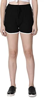 Rute Women's Cotton Black Self Tie Waist Mid Loose Shorts for Women's & Girls with Plus Size
