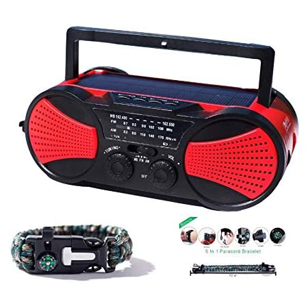 Solar + Hand Crank AM FM NOAA Weather Emergency Radio + Music Player + USB 2000mAh Phone Charger & LED Flashlight w/SOS Bonus Survival Paracord Bracelet Flint Fire Starter Compass Whistle