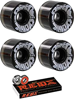 OJ Wheels 55mm Mini Super Juice Trans Black Skateboard Wheels - 78a with Bones Bearings - 8mm Bones Reds Precision Skate Rated Skateboard Bearings (8) Pack - Bundle of 2 Items