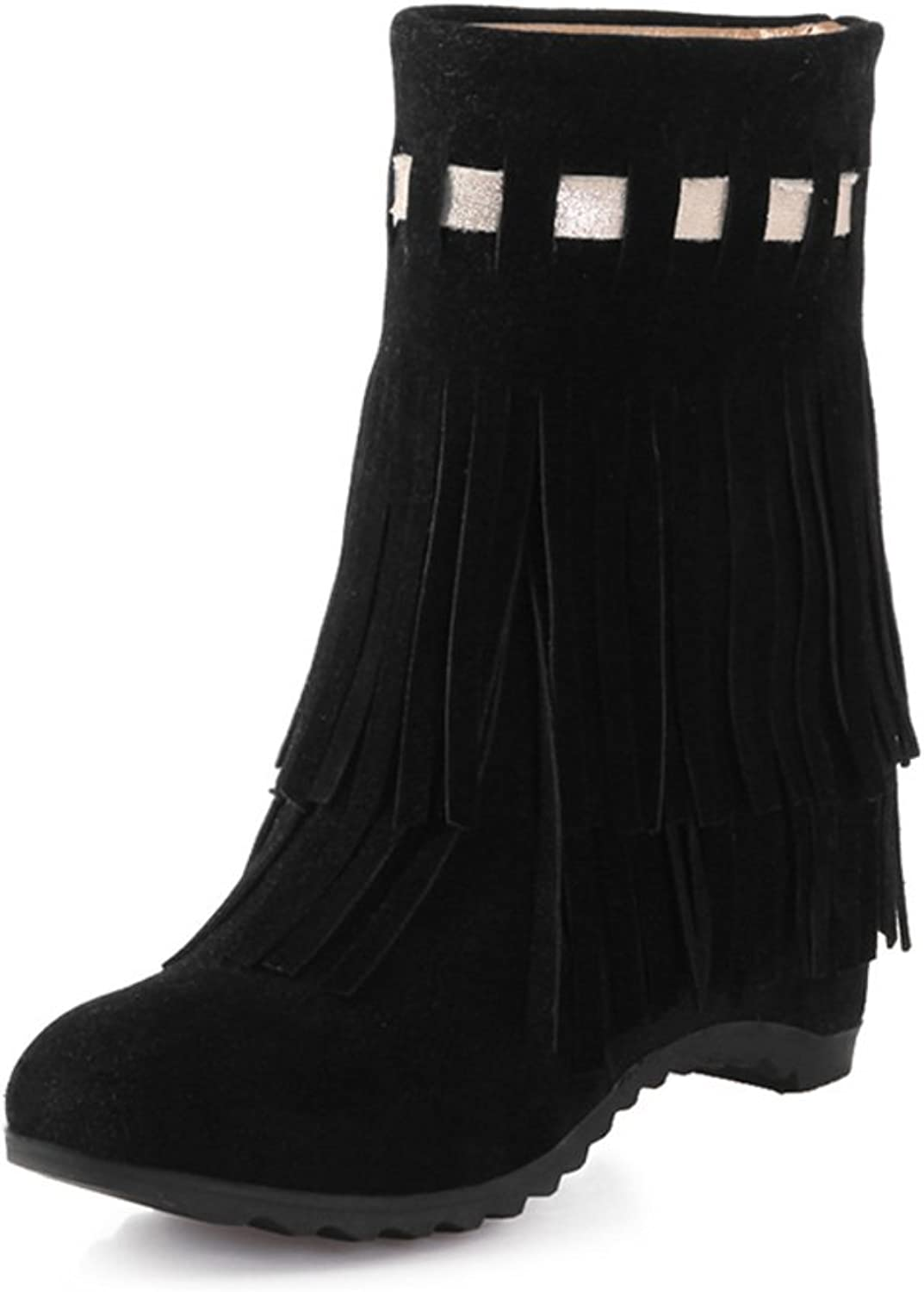 RHFDVGDS Winter and Cashmere Women's Boots Tassel Boots Flat high Boots in The UK high Heel Suede shoes