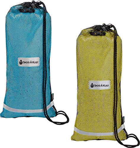 Skog Å Kust SnorkelSåk 2-in-1 Mesh Snorkel Bag with Removable Interior Waterproof Dry Bag | Blue & Yellow 2-Pack