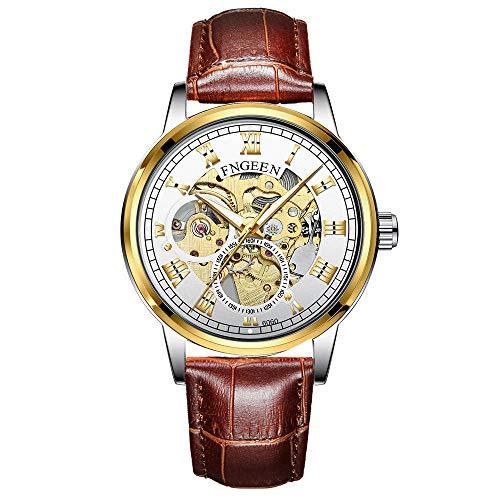 Reloj para Hombre Automático Mecánico Esqueleto de Acero Inoxidable Impermeable Luminoso -C