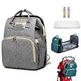 CATSAYS WAQIA 3 in 1 Diaper Bag with Changing Station, Baby Travel Sleeping Bag, Travel Crib Infant Sleeper, Baby Nest with Mattress, Travel Bassinet Baby Bed for Toddler (Grey)