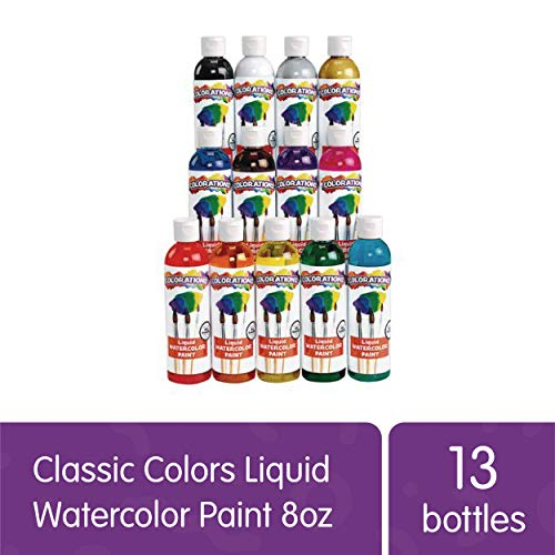 Colorations Classic Colors Liquid Watercolor Paint Classroom Supplies for Kids Arts and Crafts Variety Set (Pack of 13)