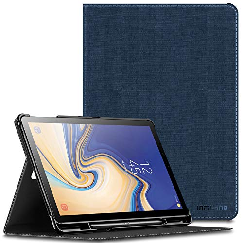 INFILAND Samsung Galaxy Tab S4 10.5 Case with S Pen Holder, Multiple Angle Stand Cover Support Auto Wake/Sleep for Samsung Galaxy Tab S4 10.5 Model SM-T830/ T835 2018 Release, Navy