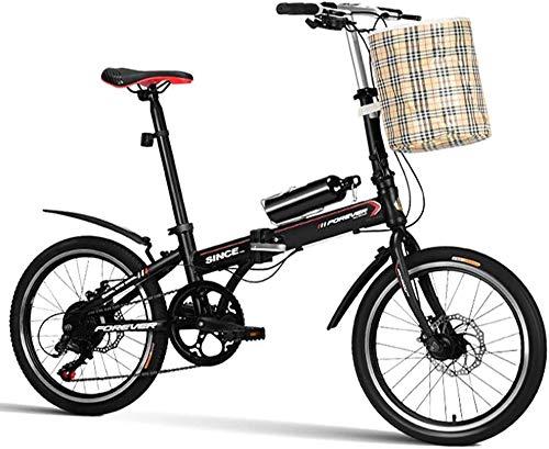 """Aoyo 20\"""" Klapprad, 7 Geschwindigkeit leichte, tragbar Erwachsene Frauen Doppelscheibenbremse faltbares Fahrrad, verstärkter Rahmen Commuter Bike (Color : Black)"""