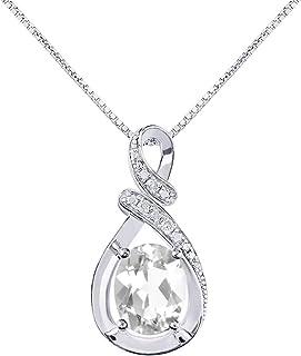 "Diamond & White Topaz Pendant Necklace in 14K White Gold With 18"" Gold Chain - April Birthstone 9X7 Oval Color Stone""S"" Designer"