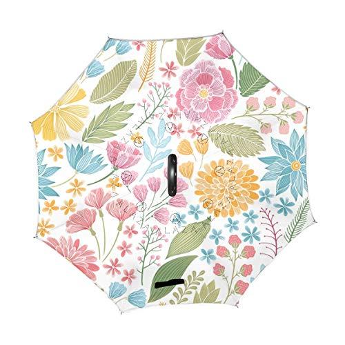 Rode paraplu, vintage, bloemen, watermeloen, zomer, lente, omkeerbaar, parasol, regen, voor auto, gebruik buitenshuis met C-handgreep.