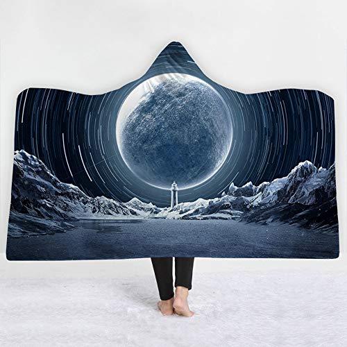 FimGGe Dicke Kapuze Decke Sternenhimmel Mond Druck Winterbett Wurf Weiche Warme Tragbare Decke Sherpa Fleece Joyous Cobija Cobertor-130cm * 150cm