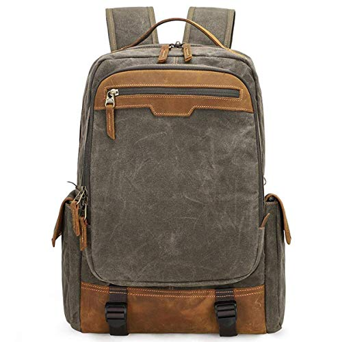XinMeiMaoYi Outdoor Backpack Vintage Canvas SLR Camera Backpack, Large Capacity Shockproof Waterproof Leisure Travel Bag Outdoor Camera Backpack Suitable For 15.4 Inch Laptop 34 * 20 * 43 Cm Army Gree