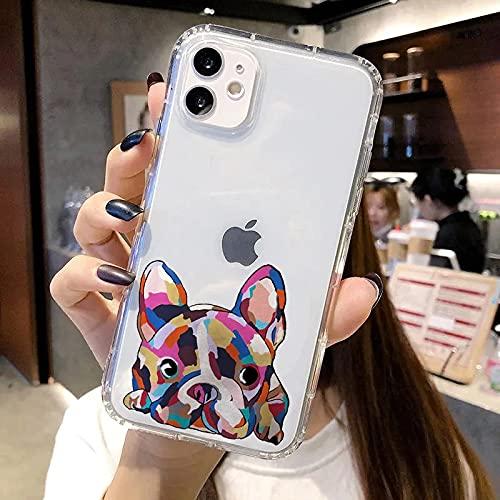 Bulldog Phone Case French Bulldog Phone Case for iPhone 6 7 8 11 12 Pro XS MAX XR X Mini Plus SE 2020 Soft Silicone Phone Cover 086