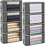 Isbasa 8 Pack Foldable Clothes Organizer Clothing Storage Bags with Clear Window Sturdy Zipper and Reinforced Handle for Comforters, Blankets, Bedding, 8Pack, 35L, Grey