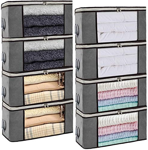 Isbasa 8 Pack Foldable Clothes Organizer Clothing Storage Bags with Clear Window Sturdy Zipper and Reinforced Handle for Blankets, Clothes, Bedding, 8Pack, 36L, Grey