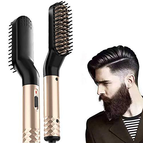 Cepillo Alisador de Barba, Profesional Peine Alisador Electrico, Cepillo térmico rápido y...