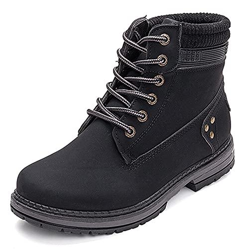 VTASQ Botas de Nieve Mujer Invierno Impermeables Comodos Cálido Zapatos Piel Forro Botines Cordones Antideslizante Aire Libre Boots Negro 42