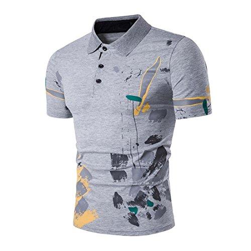 Btruely Herren T-Shirt Sommer Junge Bluse Männer Kurzarm Polo Shirt Sports Top Slim Fit Hemden (L, Grau)