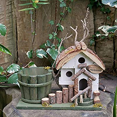 Darthome Ltd Vintage Wood Garden Outdoor Freestanding Nesting Box Bird House Feeder Station E from Darthome Ltd