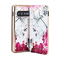 Official Ted Baker case for your Samsung Galaxy S10 Made from the finest faux leather with Ted's Babylon Nickel print Wireless charging compatible Flip-back magnetic closure for comfort calling Internal mirror for touch ups on the go