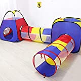 Play Tent with Tunnel - Kids Playhouse Pop up tent and crawl tunnel - 4 piece indoor outdoor play hut, climbing fort & ball pit for Boys, Girls, Toddlers and babies - Great children's toy for ages 1-8