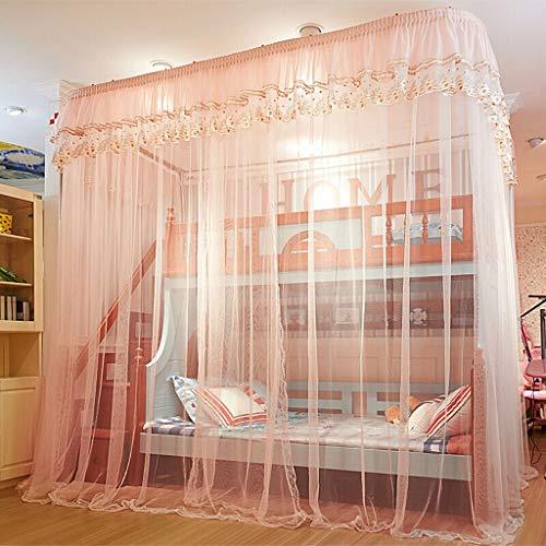TONG Etagenbett Vorhänge Moskitonetz mit abgerundetem Deckenschienensystem, Mesh-Tent Bed Vorhänge von der Decke, Schlafzimmer Canopy leicht zu bedienen (Farbe : Rosa, Größe : 250×150×265cm)