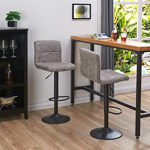 Duhome Breakfast Velvet Swivel Bar Stools, Square Swivel Adjustable Height Bar Stools with Backs,Set of 2,Modern Bar Chairs Tech Fabric Smoky Grey