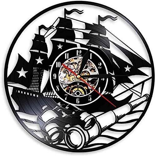 WTTA Velero Arte de la Pared diseño de Yates hogar Dior Reloj de Pared Barco Vintage Disco de Vinilo Reloj de Pared Escena Costera telescopio Reloj de Pared sin LED