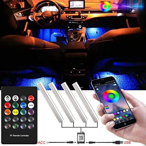 RGB Luci LED Auto Interno Alimentato da USB o ACC con Telecomando e Bluetooth App Controllo, Interni Strisce LED con 36 Pezzi LEDs per Decorative Interne, 12V