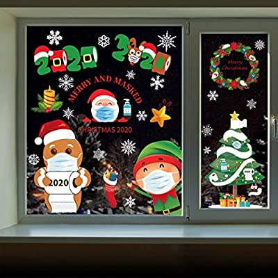 Joy Day Christmas Window Decorations Stickers 8 Sheets Quarantine Window Clings Kids Window Stickers for Xmas Holiday Window Decals