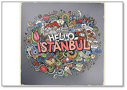 Kühlschrankmagnet, Motiv: Cartoon-Zeichnungen, Motiv: Hello Istanbul