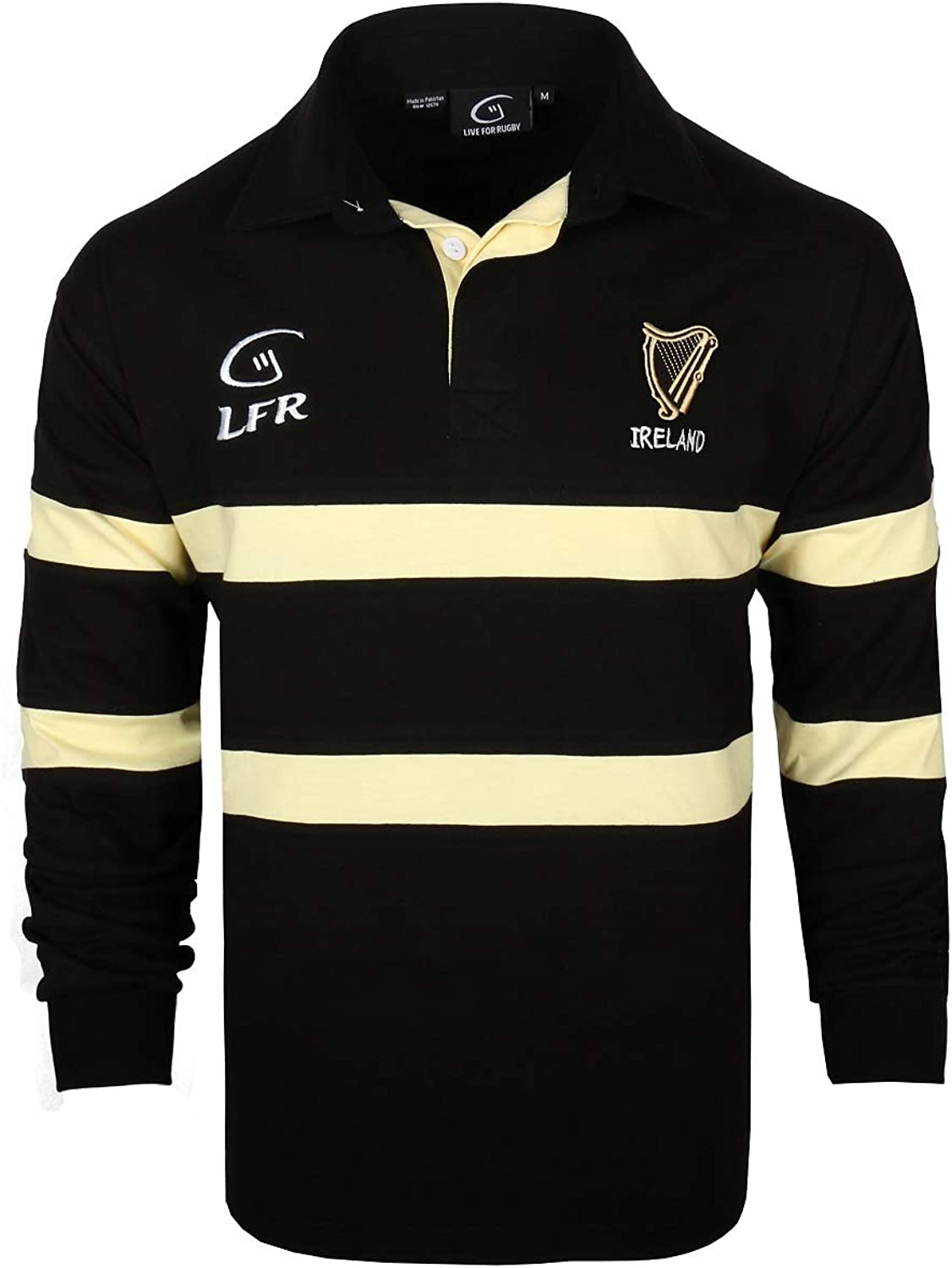 Malham Long Sleeve Black and Cream Harp Rugby Jersey