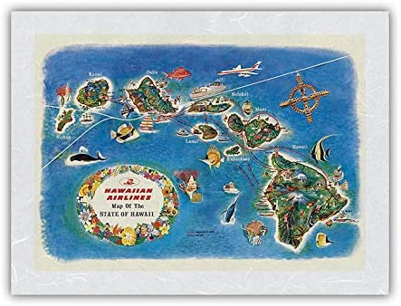 Pictorial Map of The State Financial sales sale depot Hawaii Route - Hawaiian Airlines M