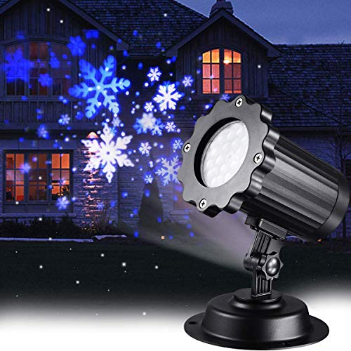 Christmas Projector Lights LED White Blue Rotating Snowflake Snowstorm Light Projector with Snowfall for Halloween Birthday Wedding Theme Party Garden Home Winter Outdoor Indoor Decor (Renewed)