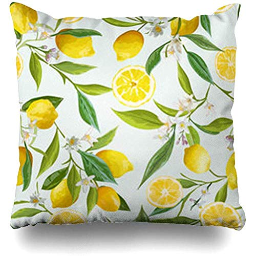 Dwi24isty Throw Pillow Covers Brazil Green Floral Pattern Lemon Fruits Vintage Exotic Garden Garland Greeting Jungle 18 x 18 Pillowcases