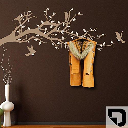 DESIGNSCAPE® Garderobe Ast mit Vögel und Blätter 120 x 52 cm (Breite x Höhe) Farbe 1: schwarz inkl. 6 Edelstahl Wandhaken DW811004-M-F4
