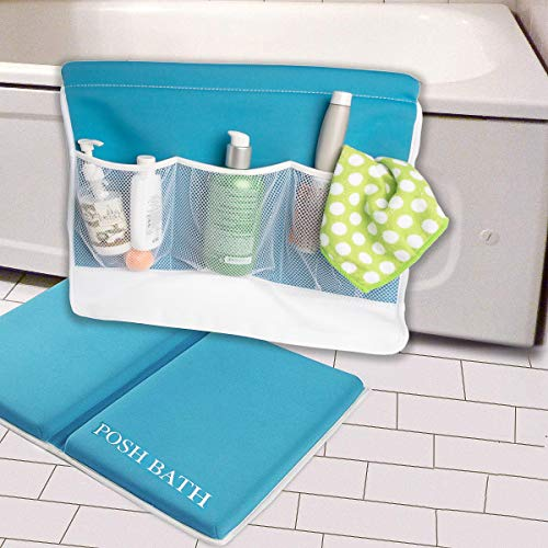 Posh Bath (2 Piece) Foam Bath Kneeler and Elbow Rest Bathtub Kneeling Pad Baby Bath Mat Non Slip Set