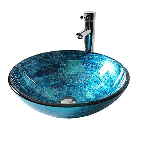 HomeLava Modern Design Gehärtetes Glas Waschbecken Rund Blau mit Ablaufgarnitur, Montagering