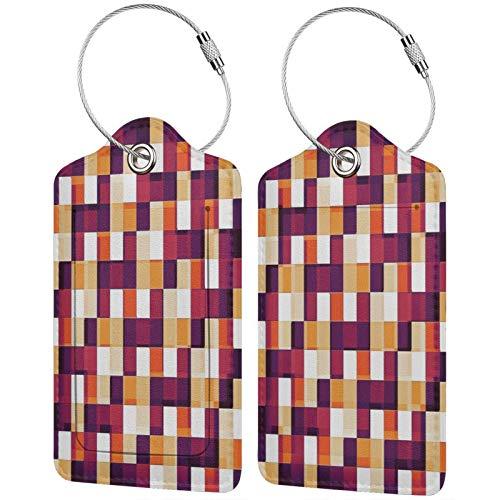 FULIYA Juego de 2 etiquetas de equipaje, de piel de alta gama, para maletas, tarjetas de visita, etiquetas de identificación de viaje, textura, caja, brillante