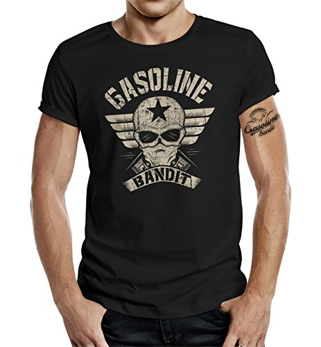 Gasoline Bandit Original Design Biker Shirt: Bandit Wing schwarz-L