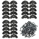 TOVOT 30 pcs Heel Plates Black Shoe Heel Taps Rubber Tips Sole Heel Repair Pad Replacement with Nails(2.04' x 0.78' x 0.15')