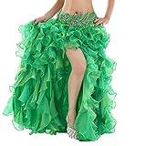 YuanDian Mujer Profesional Color Sólido Danza del Vientre Alta Falda de Hendidura Swing Larga Falda Dance Trajes Maxi Falda Vestidos Belly Dance Verde Oscuro 90cm(Sin incluir el cinturón)