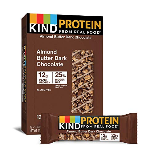 KIND Protein Bars, Almond Butter Dark Chocolate, Gluten Free, 12g Protein, 1.76 Ounce, 12 Count