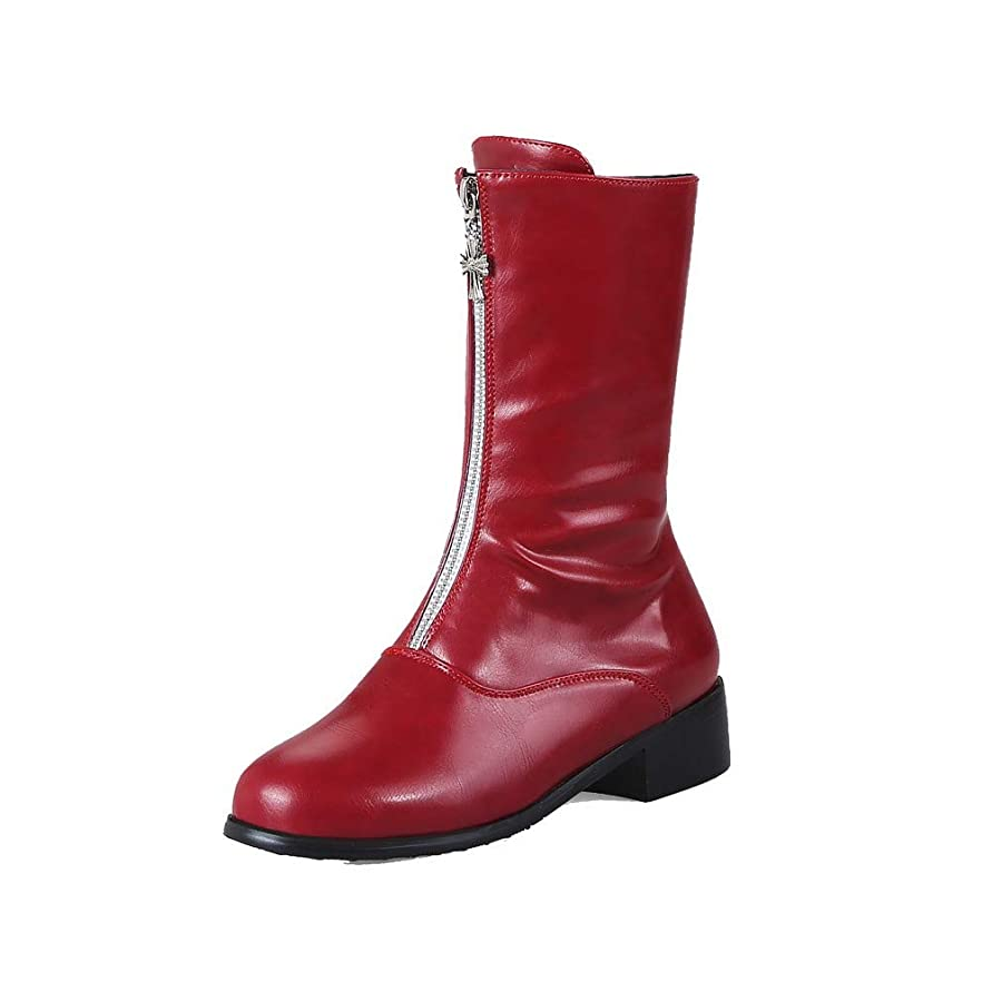 燃料子豚血まみれ(ヴォーグゾーン009) VogueZone009 レディース ショート 純色 ジッパー クローズドトゥ ローヒール ブーツ CCAXP123676