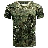 Sport Shirt Camiseta Ajustada De Camuflaje para Hombre Sport Fitness Fashion Transpirable Work Men T-Shirt Wild Camping T-Shirt Cuello Redondo Camiseta De Manga Corta C-003 3XL