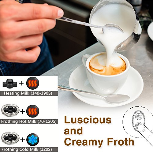 Milk Frother, Automatic Milk Steamer with New Foam Density Feature, Electric Frother with Hot or Cold Milk Function for Coffee, Cappuccino and Breakfast,ETL/FDA Approved