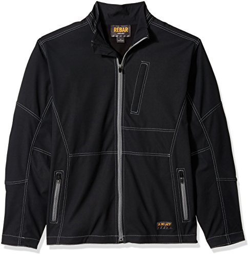 Ariat Men's Big and Tall REBAR Canvas Softshell Jacket, Black, XLT Regular